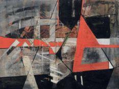 Andreas Bliemel, Komposition mit rotem Segel. 1986. Acryl auf Rupfen, auf Sperrholzplatte. Verso