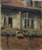 """Wilhelm Claudius, Mädchen am Fenster. 1939. Öl auf Leinwand. Signiert u.re. """"WilhClaudius 39"""". In"""