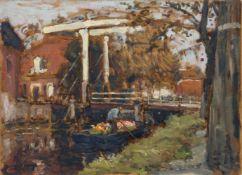 Arthur Feudel, Drei Ansichten von Katwijk, Holland. 1903-1911. Öl auf Malpappe. Jeweils u.re.