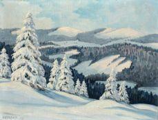 """Beckert, Ein Wintertag im Osterzgebirge. 1939. Öl auf Sperrholz. Signiert """"BECKERT."""" und datiert u."""