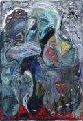 """Oliver Dobslaff, Ohne Titel. 1992. Acryl und farbige Kreiden auf Karton. U.re. signiert """"Dobslaff"""""""