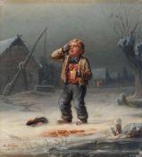 """Hermann Werner """"Der zerbrochene Krug"""". 1853. Öl auf Leinwand. Signiert u.li. """"H. Werner"""" und"""
