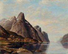 Jacobus Johannes van Poorten, Norwegische Fjordlandschaft mit Fischerbooten. 1889. Öl auf