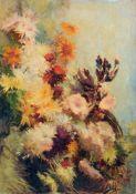"""Arthur Feudel, Drei Blumenstillleben. Anfang 20. Jh. Öl auf Malpappe. Eine Arbeit signiert """"ARTUR"""