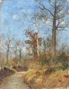 """Emil Zschimmer """"Frühjahrsstudie"""". 1888. Öl auf Leinwand, vollflächig auf Malpappe aufgezogen."""