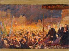 """Max Pietschmann """"Dresden - Theaterplatz. Fürst Bismarck in Dresden am 18. Juni 1892. Huldigung der"""
