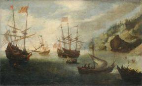 Andries van Eertvelt (zugeschr.), Mediterrane Küstenlandschaft mit Segelschiffen. 17. Jh. Öl auf