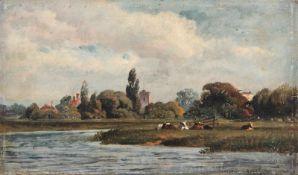 Thomas Sidney Cooper, Studie einer Landschaft mit weidenden Kühen. 2. H. 19. Jh. Öl auf Holz.