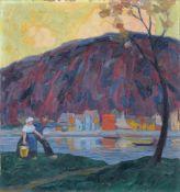 """Max Henze-Dessau """"Fischerdorf an der Saale (Alt-Weißenfels)"""". 1920. Öl auf Leinwand. Signiert """"HENZE"""