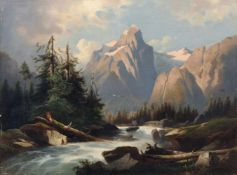 Josef Thoma, Gebirgsbach am Wetterhorn bei Meiringen im Berner Oberland. Um 1880. Öl auf Leinwand.