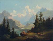 """Zöllner, Blick in ein Alpental mit Burg und Fluss. 19. Jh. Öl auf Leinwand. Signiert """"Zöllner"""" u.re."""
