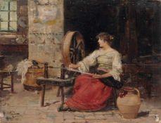 """Vicente March y Marco, Römerin am Spinnrad. Um 1893. Öl auf Holz. Signiert """"V. MARCH"""" sowie"""