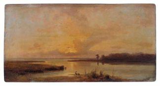 Karl Robert Kummer, Abendstimmung an der Küste von Schottland. 1855. Öl auf Metall. Verso