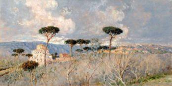 "Giuseppe Carelli, Neapolitanische Landschaft mit Pinien. Anfang 20. Jh. Öl auf Holz. Signiert ""G."