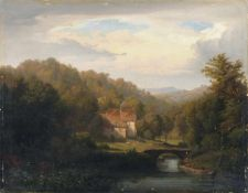 Friedrich Heunert, Ländliches Gehöft aus der Umgebung von Düsseldorf. 1849. Öl auf Leinwand.