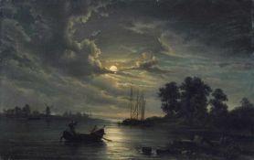 Johann Anton Castell, Elblandschaft mit Booten im Mondschein. 1852. Öl auf Leinwand. Ligiert
