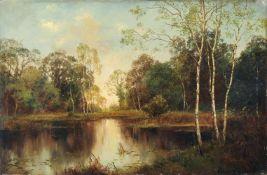 Karl Buchholz, Stilles Wasser im Wald bei Weimar. 1869. Öl auf Leinwand, auf Sperrholz