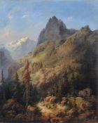 """Albert Trippel, Rast im Gebirge. Wohl um 1840. Öl auf Leinwand. In roter Farbe signiert """"A. Trippel"""""""
