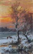 Bernhard Mühlig, Abendliche Winterlandschaft mit Rehen. 1900. Öl auf Leinwand, vollflächig auf