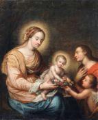 Deutscher Maler, Maria mit Jesusknaben, Johannes dem Täufer und Engel. Ende 18. Jh. Öl auf Leinwand.