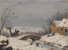 Wilhelm Steuerwaldt, Reiter auf dem Weg nach Halberstadt (?) in winterlicher Landschaft. 1831. Öl