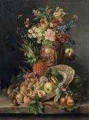 G. Tomassi, Blumenstillleben mit Früchten. Wohl Ende 19. Jh. Öl auf Leinwand, auf Spanplatte