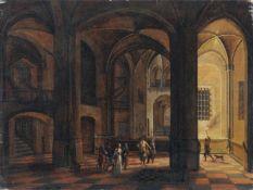 Christian Stöcklin (in der Art von), Auf dem Weg zum Verließ eines Schlosses. Wohl Ende 18. Jh. Öl