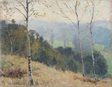Hans Rudolf Hentschel, Spätsommerliche Landschaft mit Birken. Anfang 20. Jh. Öl auf Papier, auf