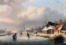 """H. M. Haus, Winterlandschaft mit Eisläufern. Anfang 19. Jh. Öl auf Leinwand. Signiert """"Haus."""" u."""