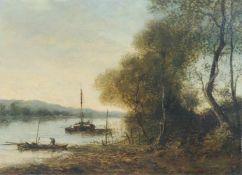 """Henri Gounin, Abendstimmung am Fluss mit Fischerbooten. Ende 19. Jh. Öl auf Leinwand. Signiert """"C."""
