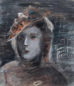 Hein Heckroth, Frauenporträt vor Stadtsilhouette. 1935. Öl und Deckfarben auf Papier. Signiert in