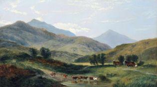 George Shalders, Heimziehende Kuhherde in den Bergen bei Glengarriff (Irland). 1859. Öl auf