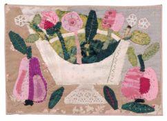 """Elisabeth Ahnert """"Blumen und Früchte"""". Um 1960. Applikation (verschiedene Stoffe und Garne), auf"""