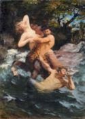 Max Pietschmann, Ein Kentaur, eine Nymphe entführend, im Kampf mit dem Meeresgott Triton. 1886. Öl