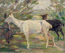 """Anton Denzel, Ziegen auf der Weide. 1922. Öl auf leinwandkaschierter Malpappe. Signiert u.re. """"A."""