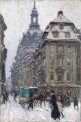 Fritz Beckert, Dresden - Rampische Straße mit Blick auf die Frauenkirche. 1917. Öl auf Leinwand.
