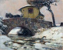 """Hans Hartig """"Die Weihnachtspost"""" (Ansicht einer Steinbrücke mit Postkutsche in winterlicher"""