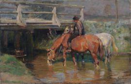 """Max Joseph Pitzner, Trinkende Pferde vor einer Brücke. 1898. Öl auf Leinwand. Signiert """"M. Pitzner"""","""