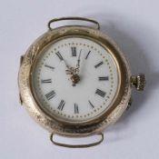 Damentaschenuhr GG 585, Lepine-Gehäuse, rund, Dca.2,8cm, weißes Emailzifferblatt, röm. Ziffern,