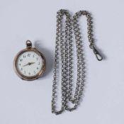 Damentaschenuhr Si 800, Lepine-Gehäuse, rund, Dca.3cm, weißes Emailzifferblatt, arab. Ziffern,