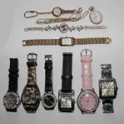 Konvolut - Uhren 10 St., Mytic, Royal, u.a., tlw. f. Herren u. f. Damen, 1 Anhängeruhr u.a., tlw.