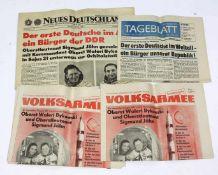 Posten Tageszeitungen Sigmund Jähn 4 Tageszeitungen vom 27.August 1978 mit Titelschlagzeile über