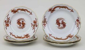 6 Teller 'Roter Drache' / 6 plates 'Red Dragon', Meissen, 1924-34 Material: Porzellan, glasiert,