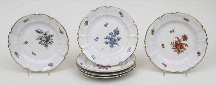 6 Kuchenteller 'Rokoko' / 6 dessert plates 'Rokoko', Nymphenburg, Ende 20. Jh. Material: