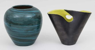 2 Keramik Vasen / 2 vases, Frankreich u. Elchinger, Mitte 20. Jh. Material: Keramik, glasiert,