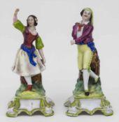 Paar Figurenvasen 'Bauerntanz' / A pair of vases 'dancing couple' Material: Porzellan, glasiert