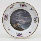 Teller mit Ansicht eines Bergsees / 'A plate with the view of a mountain lake', Meissen, um 1900