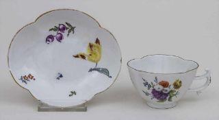Vierpassige Tasse mit Untertasse / A quatrefoil shaped cup and saucer, Meissen, Mitte 18. Jh.