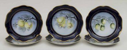 6 Dessertteller mit Früchten / 6 plates with fruit, Philip Rosenthal, Selb, um 1940 Material: