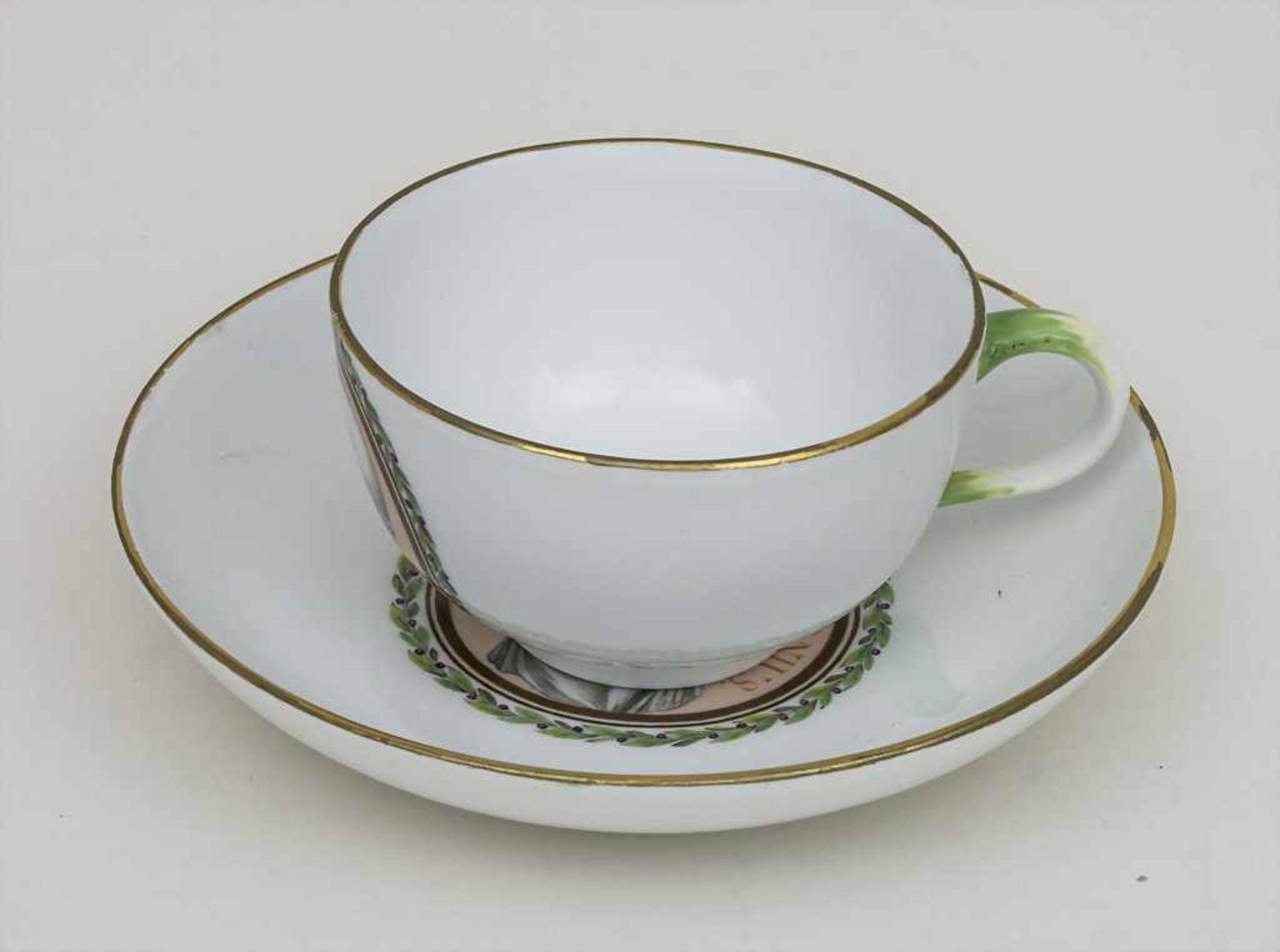 Tasse und UT mit Philosophen / A portrait cup and saucer with 2 philosophers, Meissen, letztes - Bild 2 aus 3